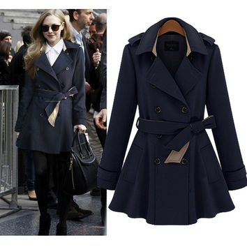 Fashion Turn Down Lapel Collar Long Belt Coat