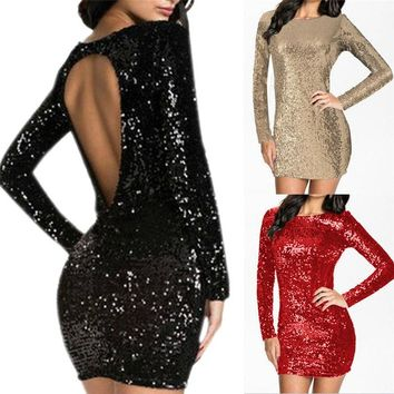 Party Club backless Dress Women Sparkle Glitzy Glam Sequin Long Sleeve Flapper Sheath dress 1227 A487