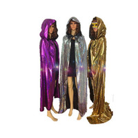 Sliver Gold Purple Cape Halloween Costumes for Women Man Fancy Dress Carnival maid party Death Wizard Cloak S-XL