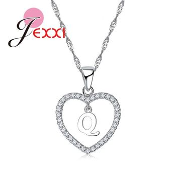 JEXXI New Arrival A To Z Letters Real 925 Sterling Silver Heart Pendant Necklaces For Women Girl Lovely Fashion Wedding Jewelry