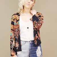 ornate print vintage jacket in black with orange and turquoise pattern | shopcuffs.com