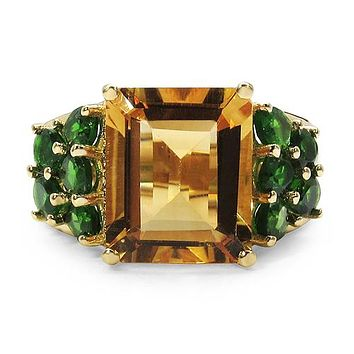 18K Yellow Gold Natural & Ethically Mined 6.85CT Emerald Cut Yellow Citrine & Green Chrome Diopside Ring