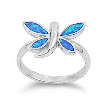Sterling Silver Dragonfly 12MM Blue Lab Opal Ring