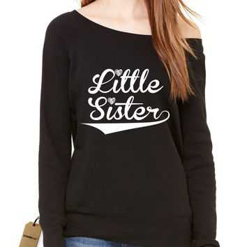 Little Sister Siblings Slouchy Off Shoulder Oversized Sweatshirt