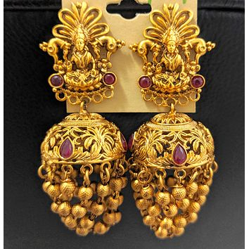 Multiple ball chain linked Matte gold finish Goddess Lakshmi stud Earring