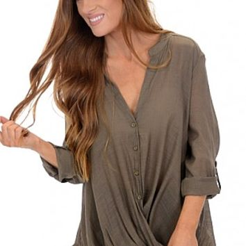 Twisted Button Down, Olive :: NEW ARRIVALS :: The Blue Door Boutique
