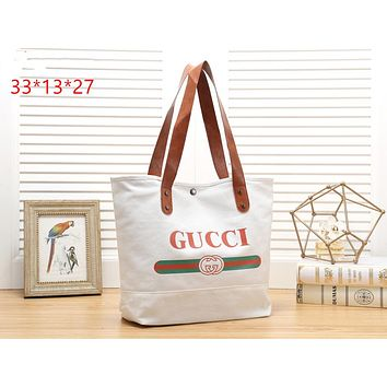 LV & GUCCI tide brand female models simple fashion wild canvas shopping bag shoulder bag GUCCI