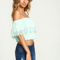 MINT OFF SHOULDER CROCHET CREPE TOP