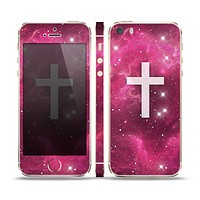 The Vector White Cross v2 over Glowing Pink Nebula Skin Set for the Apple iPhone 5s