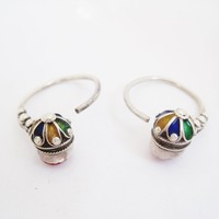 Vintage Silver and Enamel Kabyle Hoop Earrings