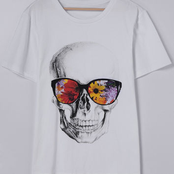 CrossBones Printing Short Sleeves Round Collar With T-Shirt