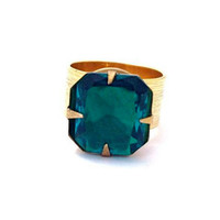 Vintage Square Cut Emerald Green Stone Cocktail Ring