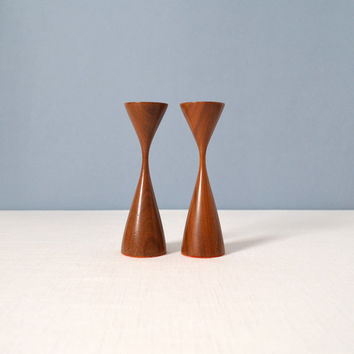 Vintage Danish Modern Turned Wood Candle Sticks Holders - Osolnik Style