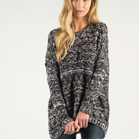 Oversized Knit Sweater - Black - Black / One