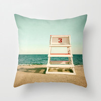 Beach Throw Pillow or Decorative Pillow Cover Vintage Lifeguard Chair Ocean Sea Aqua Teal Mint Red Beige Living Room Bedroom Coastal Decor