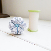 Spool Pincushion, pincushions for sale, small pincushion, sewing box, sewing supply, ready to ship, handmade pincushion, pincushion white
