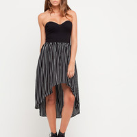Motel Chinara Strapless Fishtail Dress in Slim Black and White Stripe