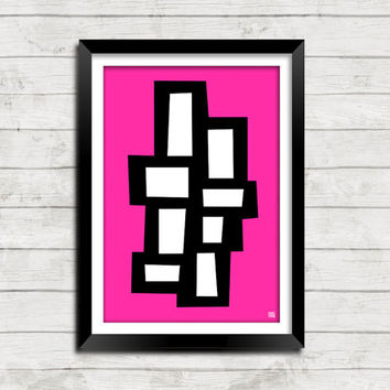 Abstract Atomic Pop Art Color Mid Century Modern Print Collection - 28 Designs 20 Colors 3 Sizes