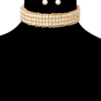 "15"" pearl chain layered choker collar bib necklace earrings bridal pageant"