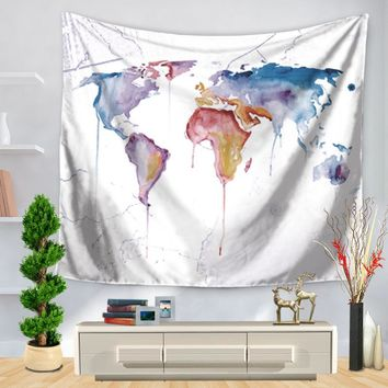 CAMMITEVER Watercolor Fashion Wold Map Printed Mandala Bohemian Tapestry Woven Decorative Wall Tapestry Polyester Fabric Carpet