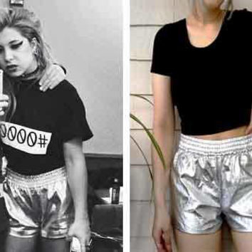 Metallic Silver Chrome Disco Shorts / Shiny Wet Look Foil Shorts with Elastic Waistband / Holographic Holopunk Vaporwave Aesthetic Fashion