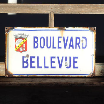 "French Original Provencal Vintage White and Blue Enamel Metal Street Sign "" Boulevard Bellevue"" -----""Avenue Nice View""….."