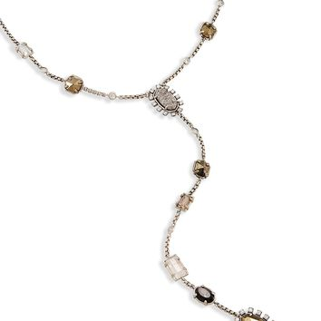 Kendra Scott Liesl Smoky Pyrite and Glass Long Antique Silver Y Necklace