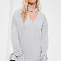 Missguided - Grey Choker Neck Lace Up Side Detail Sweatshirt
