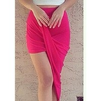 Hot Fuchsia Pink Ruched Twisted Asymmetric Hem Mini Maxi Skirt
