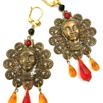 Large Handmade Earrings of Czech Glass & Vintage Czech Components, Coral Tribal Boho Style, Dimensional Woman's Face, Brass Tone Filigree,