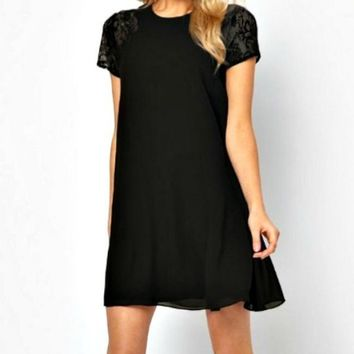 Touch of Lace Dress - Black