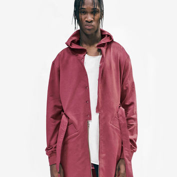 Desert Sand Hooded French Terry Trench in Maroon