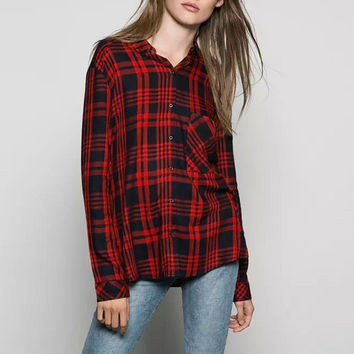 Red Plaid Button Down Stand Collar Long Sleeves Shirt