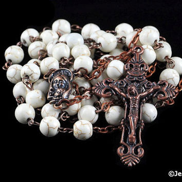 Catholic Rosary White Magnesite Antique Copper Traditional Rustic Natural Stone Rosary Beads