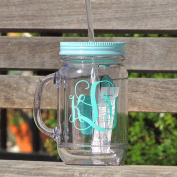 acrylic mason mug, personalized mason mug, monogrammed mason jar, 16 oz mason mug, double walled mason mug, bridal party gift