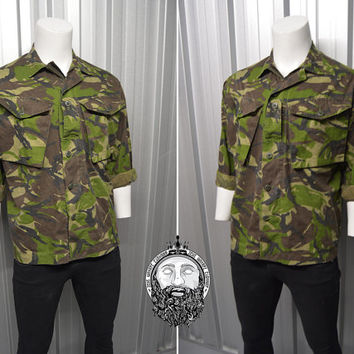 Vintage 80s Camo Shirt Light Jacket Military Camouflage Hipster Clothing Army Shirt Indie Jacket Nu Goth Military Surplus Jacket Utility WW2