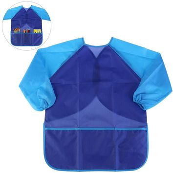 Kids Waterproof Long-sleeved Art Smock Painting Apron (Blue)