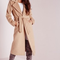 Missguided - Belted Brushed Coat Camel