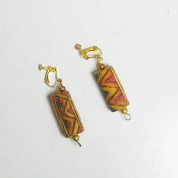 Ethnic Screw Back Earrings, Painted Corks, Cork Earrings, Clip On Boho Earrings, Long, Dangle, Lightweight, New Clips