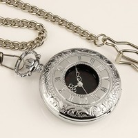 ESS Mens Stainless Steel Case Black Dial Roman Numerals Antique Pocket Watch with Chain WP001