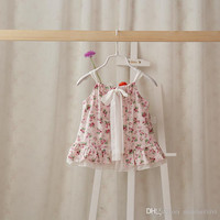 Retail summer new baby girls princess dress children bow suspender dress Infant floral priting dress 0-3T A5837