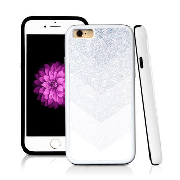 iPhone 6 case Ombre color white in Silver Glitter Texture with hard plastic and rubber protective cover