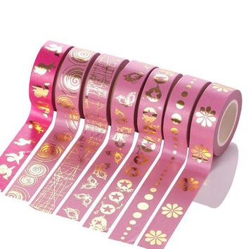 2017 new Pink Foil Washi Tape 15MM*10M Kawaii Adhesive Tape For Home Decoration Scrapbooking Tools Free Shipping