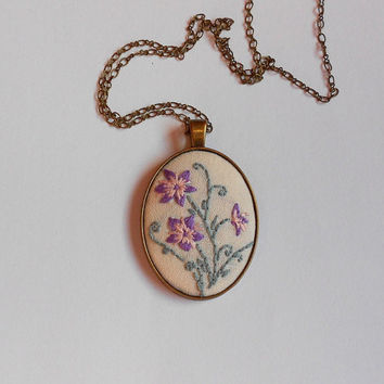 Pendant on Chain, Floral Necklace, Purple Flower Bouquet, Handmade Jewelry, Statement Necklace, Fabric Jewelry