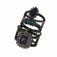 Stone Double Ring - Blue
