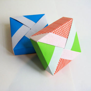 Unique Origami Gift Boxes Set of 3 by PhDstressrelief on Etsy