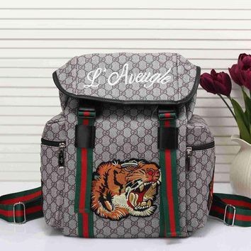 Gucci New Fashion Women Men Tiger Embroidery Leather Shoulder Bag Travel Bag Backpack