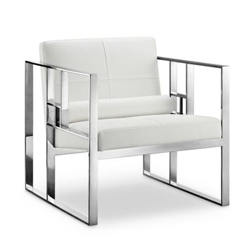 Westgate Lounge Chair WHITE/POLISHED STEEL