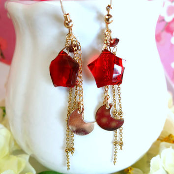 Red quartz star moon gold filled tassle earrings
