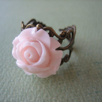 Petite Pale Pink Rose Flower Ring - Adjustable Antique Brass Ring - Free US Shipping - Jewelry by ZARDENIA
